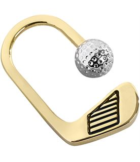 "Gold Finish Golf Key Hook with Silver Golf Ball 5cm (2"")"