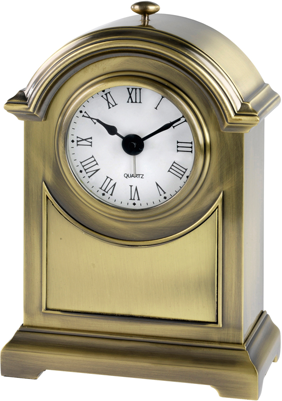 "Antique Brass Finish Arch Clock 16cm (6.25"")"