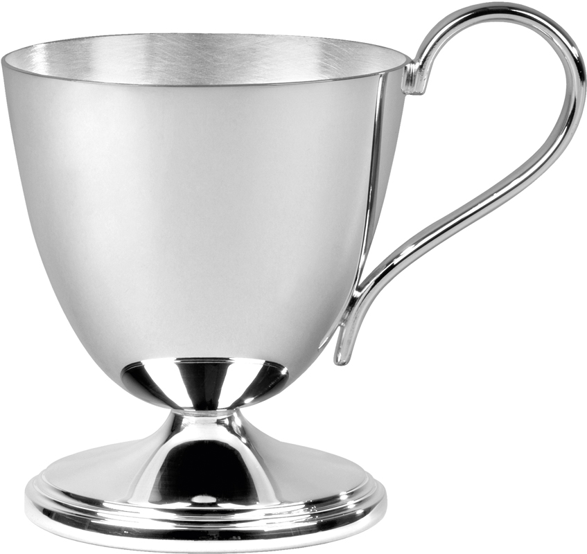 """Silver plated Matt and Polished Finish Child's Can 7.5cm (3"""")"""