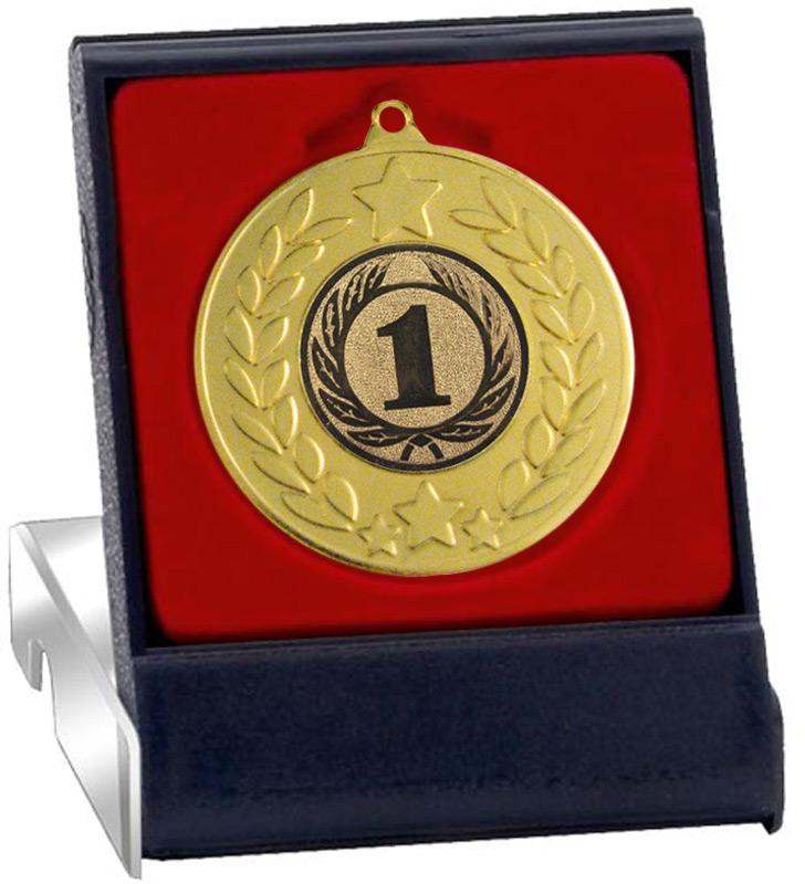 "Gold Stars & Laurel Wreath Medal in Presentation Box 50mm (2"")"