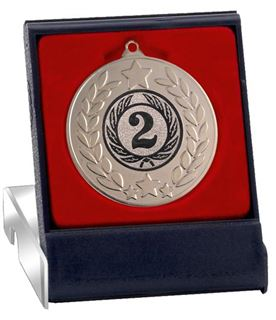 "Silver Stars & Laurel Wreath Medal in Presentation Box 50mm (2"")"