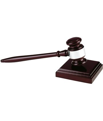 "Long Wooden Gavel with Block 27.5cm (10.75"")"