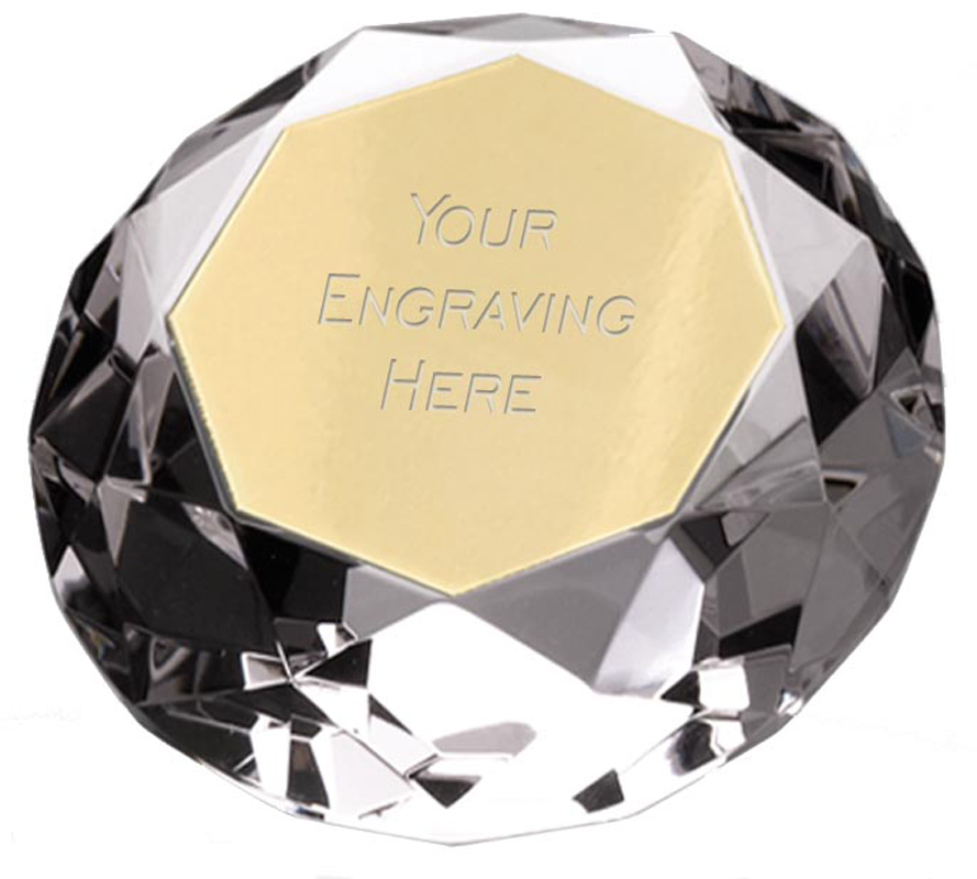 """Clear Diamond Shaped Paperweight Award 8cm (3.25"""")"""