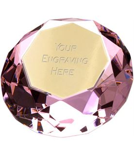 "Pink Clarity Diamond Paperweight Award 10cm (4"")"