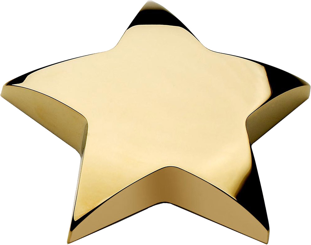 "Gold Star Paperweight 10cm (4"")"