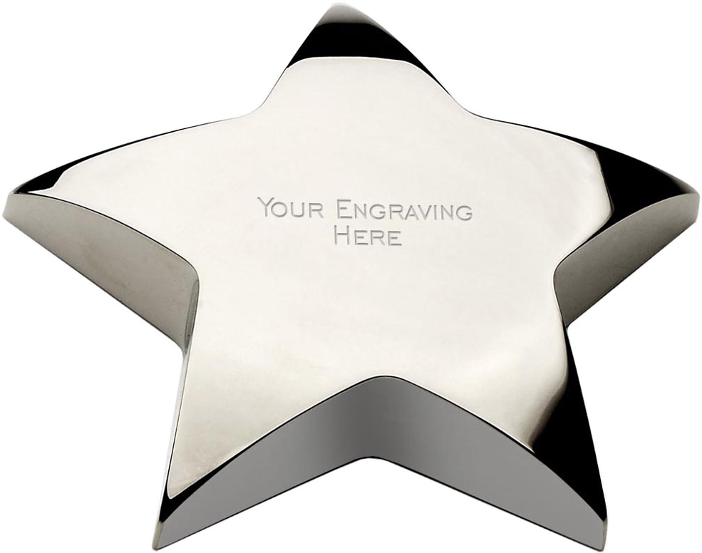 "Silver Star Paperweight 10cm (4"")"