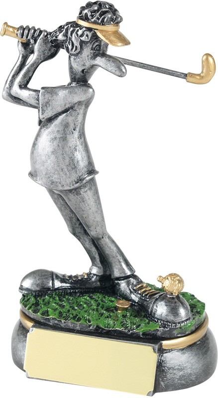 """Antique Silver Off The Toe Novelty Golf Trophy 12.5cm (5"""")"""