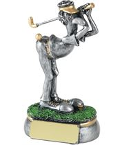"Antique Silver Cheeky Shot Novelty Golf Trophy 12.5cm (5"")"