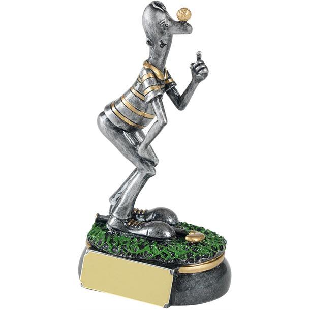"""Antique Silver Mr Etiquette Novelty Golf Trophy 12.5cm (5"""")"""