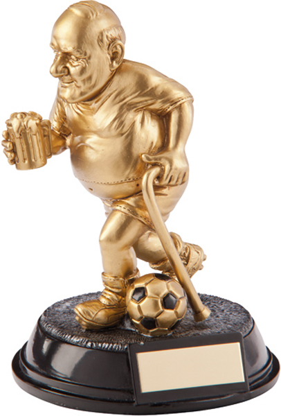 """Gold Resin Outrageous Beer Bellies Old Git Football Trophy 16.5cm (6.5"""")"""