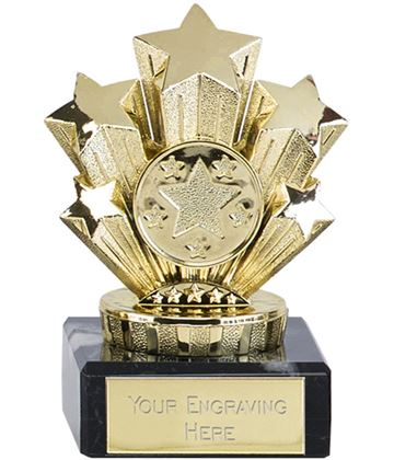 "Multi Award Gold Star Trophy On Marble Base 9.5cm (3.75"")"