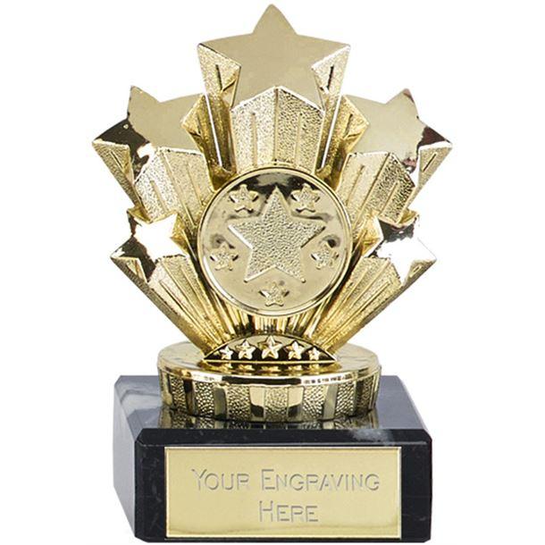 "Multi Award Gold Star Trophy On Marble Base 9.5cm (3.75"")"