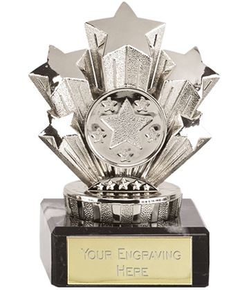 "Multi Award Silver Star Trophy On Marble Base 9.5cm (3.75"")"