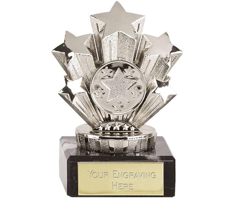 "Multi Award Silver Star Trophy On Marble Base 9.5cm (3.75"")"