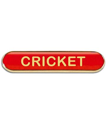 Red Cricket Lapel Bar Badge 40mm x 8mm