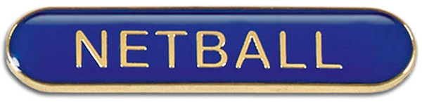 Blue Netball Lapel Bar Badge 40mm x 8mm