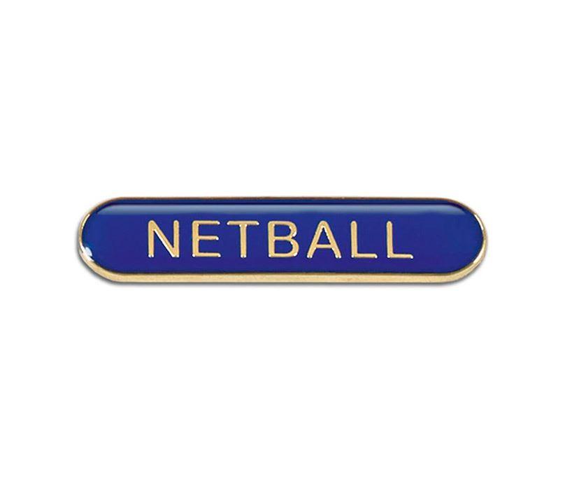 Blue Netball Lapel Bar Badge 40mm x 8mm