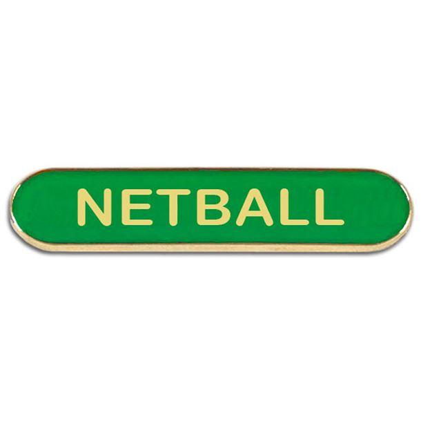Green Netball Lapel Bar Badge 40mm x 8mm