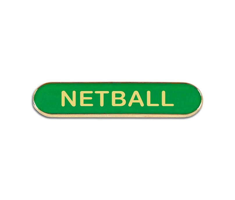 Green Netball Lapel Bar Badge 40mm x 8mm