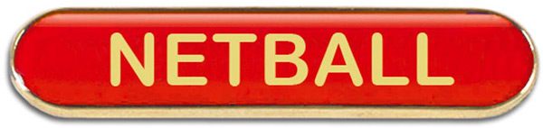 Red Netball Lapel Bar Badge 40mm x 8mm