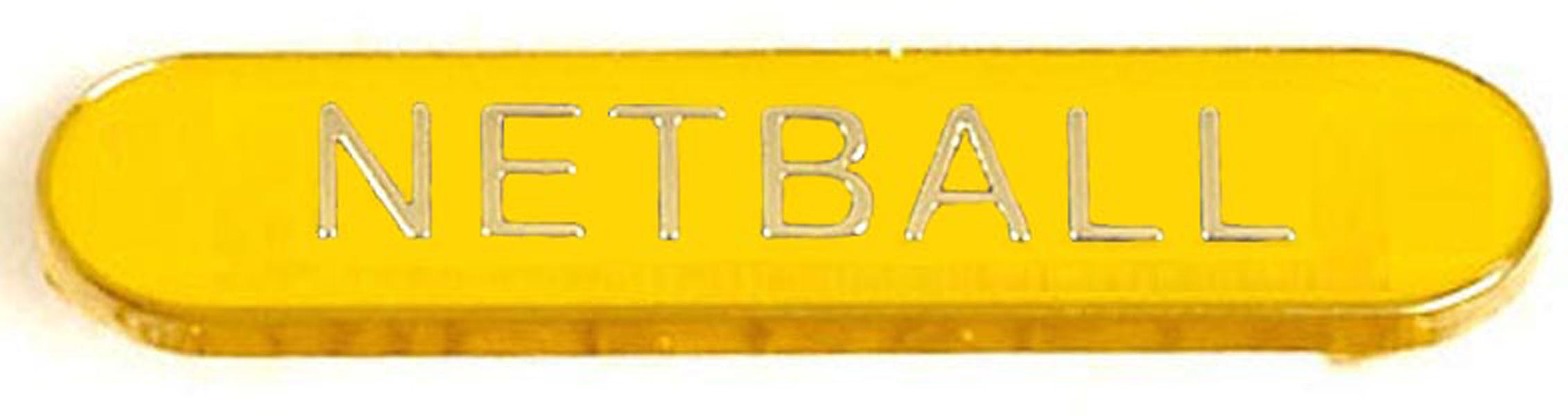 Yellow Netball Lapel Bar Badge 40mm x 8mm