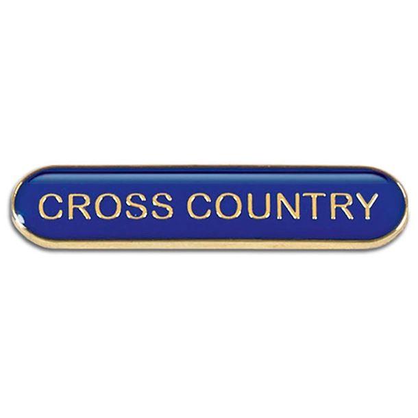 Blue Cross Country Lapel Bar Badge 40mm x 8mm