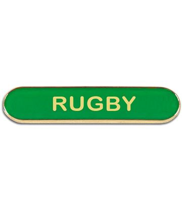 Green Rugby Lapel Bar Badge 40mm x 8mm
