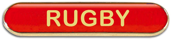 Red Rugby Lapel Bar Badge 40mm x 8mm