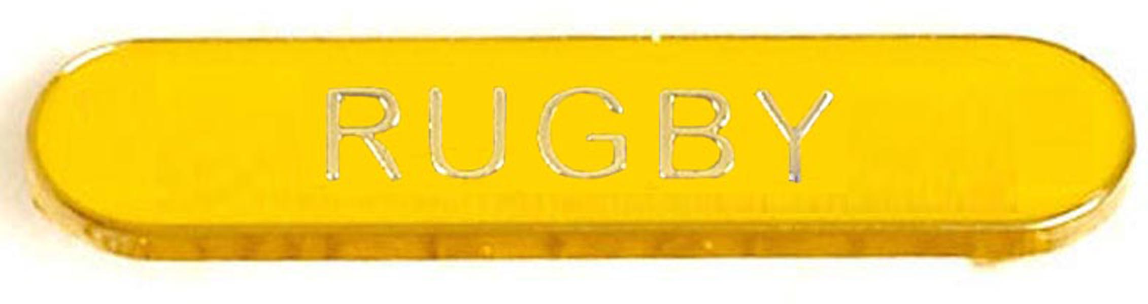 Yellow Rugby Lapel Bar Badge 40mm x 8mm