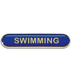 Blue Swimming Lapel Bar Badge 40mm x 8mm