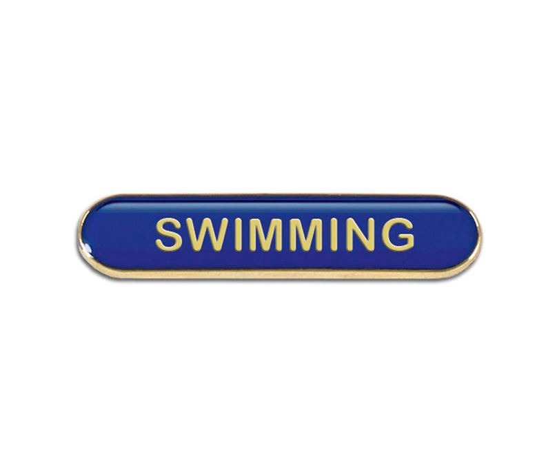 Blue Swimming Lapel Bar Badge 40mm x 8mm