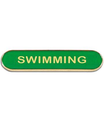 Green Swimming Lapel Bar Badge 40mm x 8mm