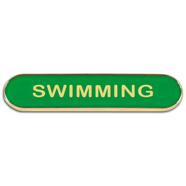 Green Swimming Lapel Bar Badge 40mm x 8mm