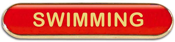 Red Swimming Lapel Bar Badge 40mm x 8mm