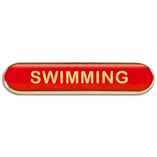 Red Swimming Lapel Bar Badge 40mm x 8mm