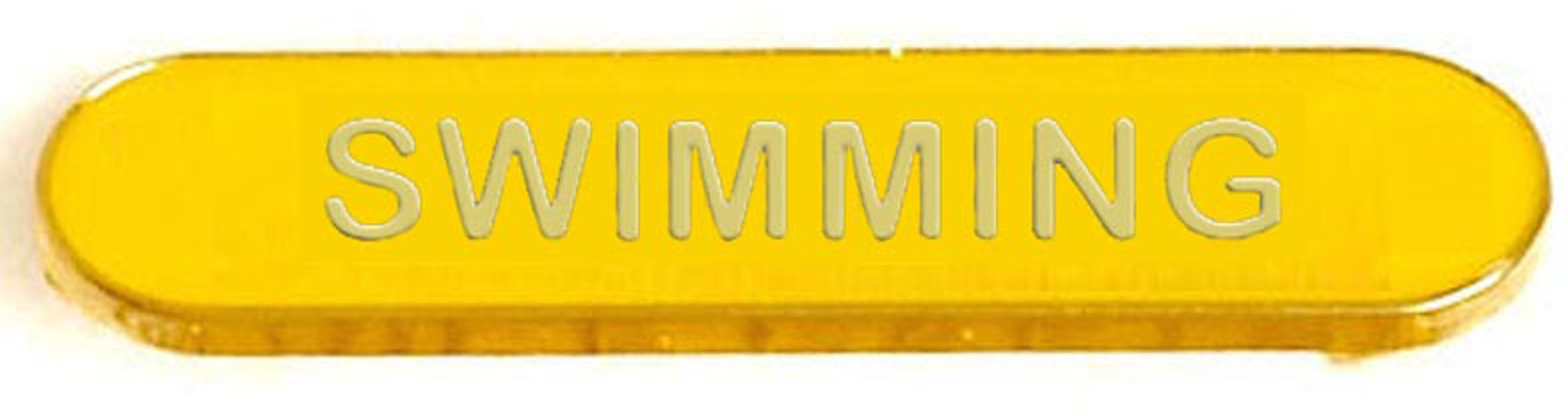 Yellow Swimming Lapel Bar Badge 40mm x 8mm