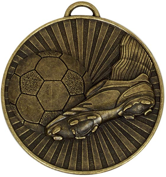"Bronze Football Boot & Ball Stripe Patterned Medal 60mm (2.25"")"