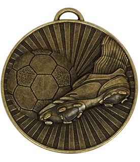 "Bronze Football Boot & Ball Stripe Patterned Medal 60mm (2.25"")"