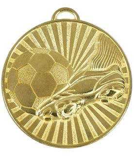 "Gold Football Boot & Ball Stripe Patterned Medal 60mm (2.25"")"