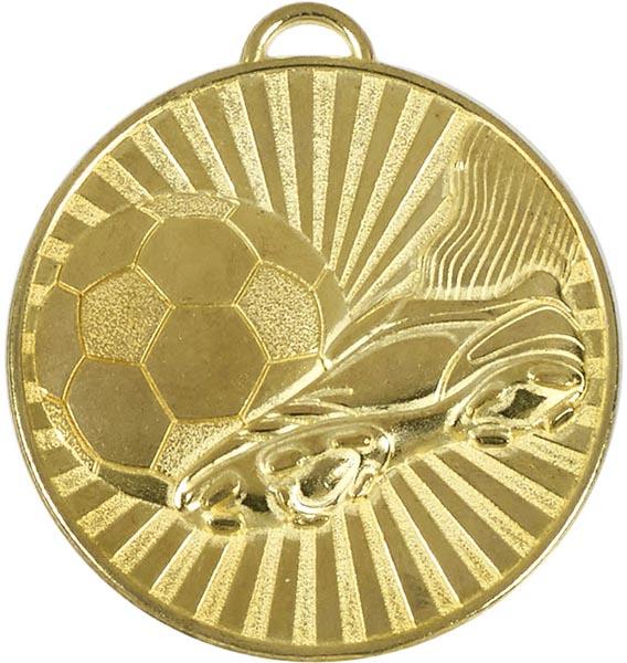 "Gold Football Boot & Ball Stripe Patterned Medal 60mm (2.25"")"
