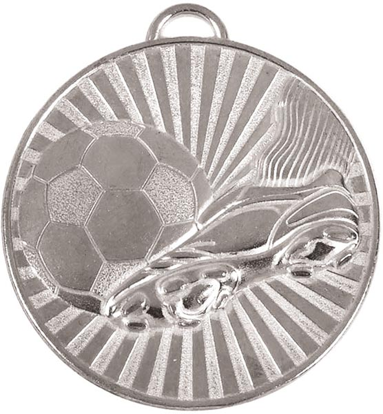 "Silver Football Boot & Ball Stripe Patterned Medal 60mm (2.25"")"