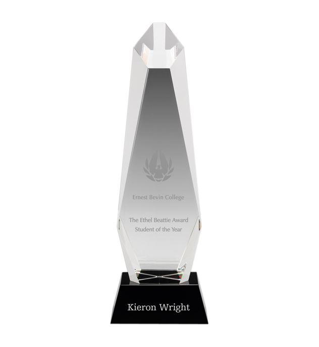 """Optical Crystal Towering Pillar Award 34.5cm (13.5"""")"""