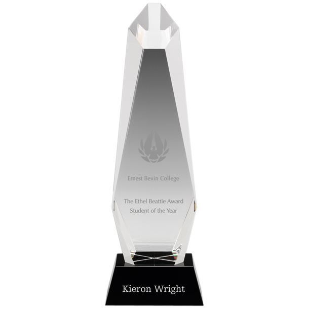 """Optical Crystal Towering Pillar Award 31cm (12.25"""")"""