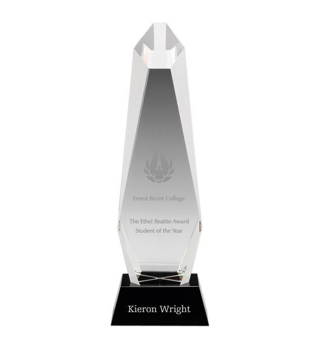 "Optical Crystal Towering Pillar Award 28cm (11"")"