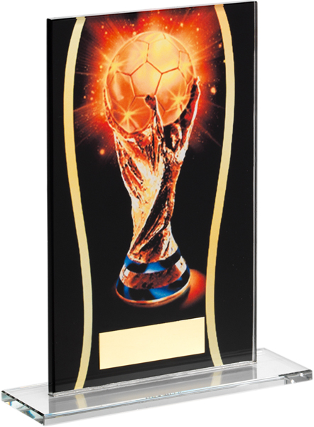 """Black & Gold Glass Football Cup Plaque 18.5cm (7.25"""")"""