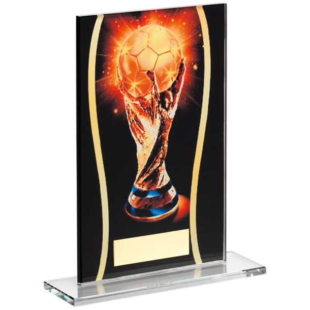 "Black & Gold Glass Football Cup Plaque 18.5cm (7.25"")"