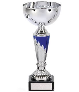 "Presentation Cup With Laurel Wreath Detail Silver & Blue 18cm (7"")"