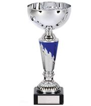 "Presentation Cup With Laurel Wreath Detail Silver & Blue 23.5cm (9.25"")"