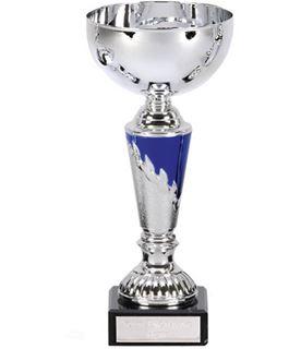 "Presentation Cup With Laurel Wreath Detail Silver & Blue 25cm (9.75"")"