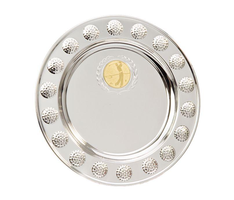 """Golf Ball Pattern Surround Silver Salver 20cm (8"""")"""